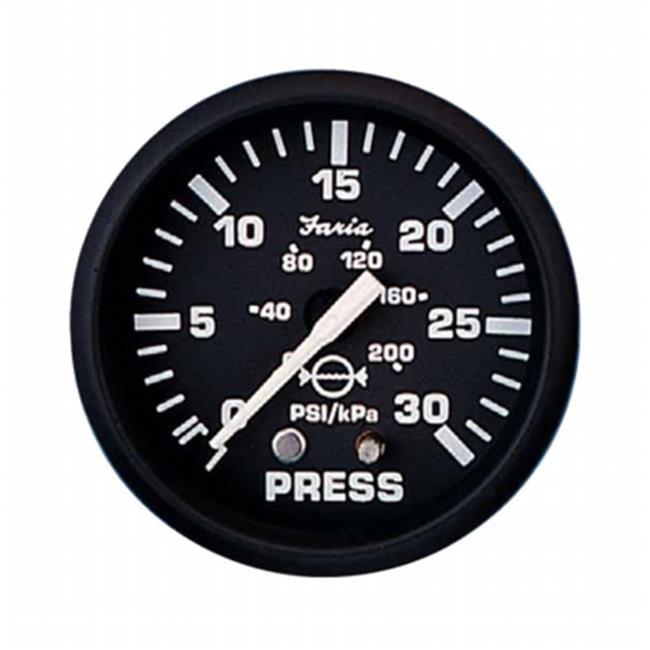 Faria Beede Instruments 12810 2 in. Euro Black Water Pressure Gauge Kit - 30 PSI - image 1 of 1