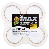 Duck MAX Strength Packing Tape, 1.88 in. x 54.6 yd., Clear, 4-Count