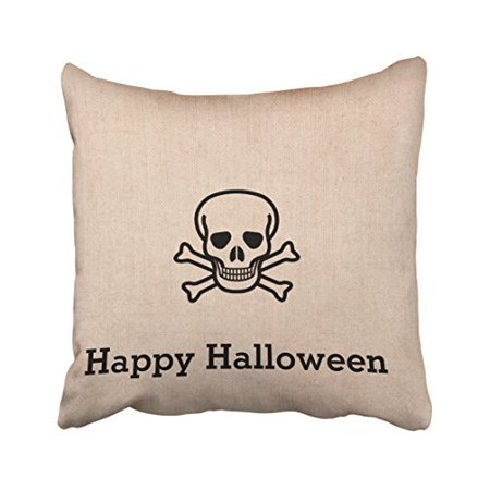 WinHome Vintage Fun Happy Halloween Bone Cross Chic Pattern Polyester 18 x 18 Inch Square Throw Pillow Covers With Hidden Zipper Home Sofa Cushion Decorative Pillowcases](Halloween Bones Sayings)