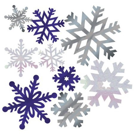Pack of 144 Shimmering Silver & Blue Foil Christmas Snowflake Cutout Decorations - Blue Snowflakes Decorations