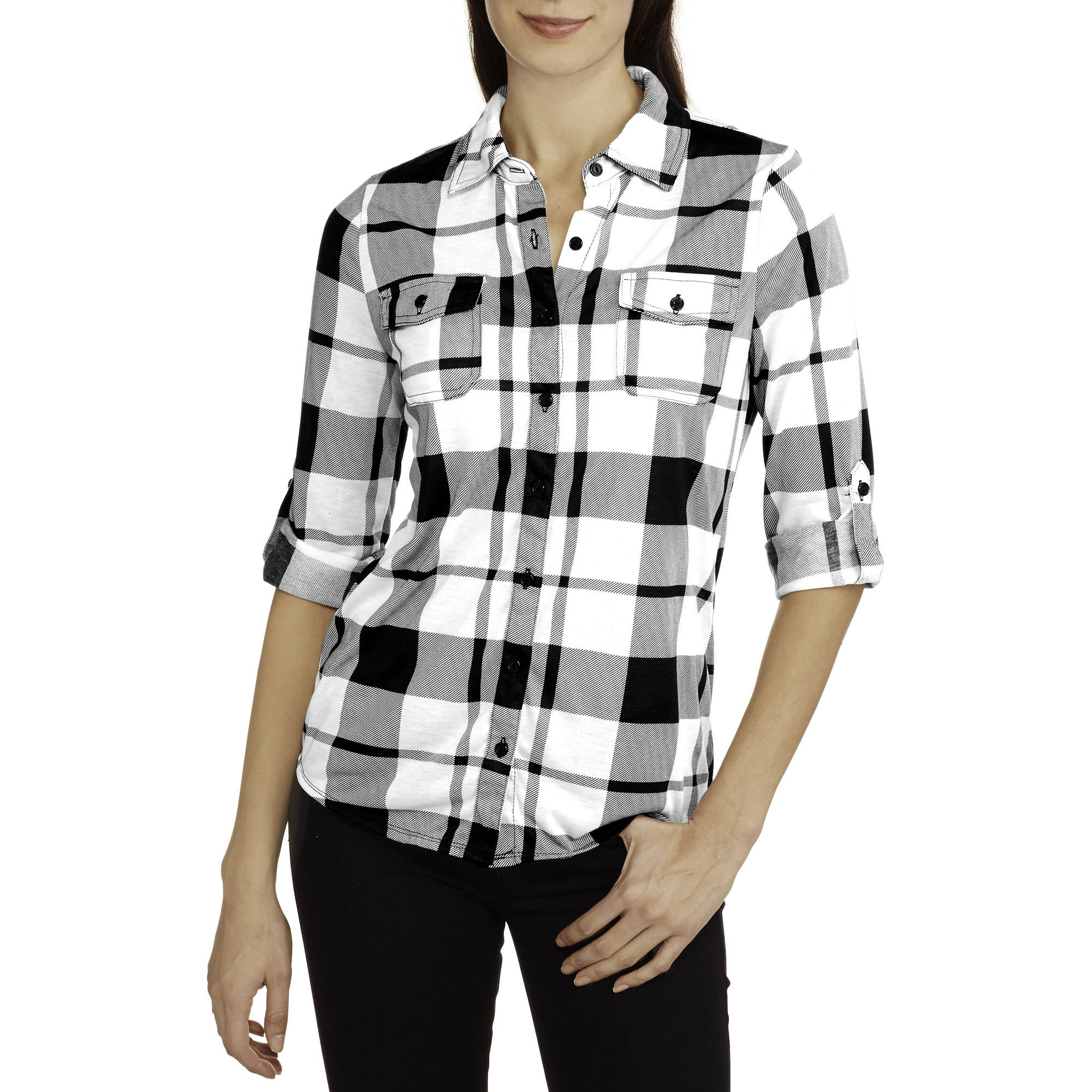 French Laundry Women's Super Soft Knit Button-Front Plaid Shirt