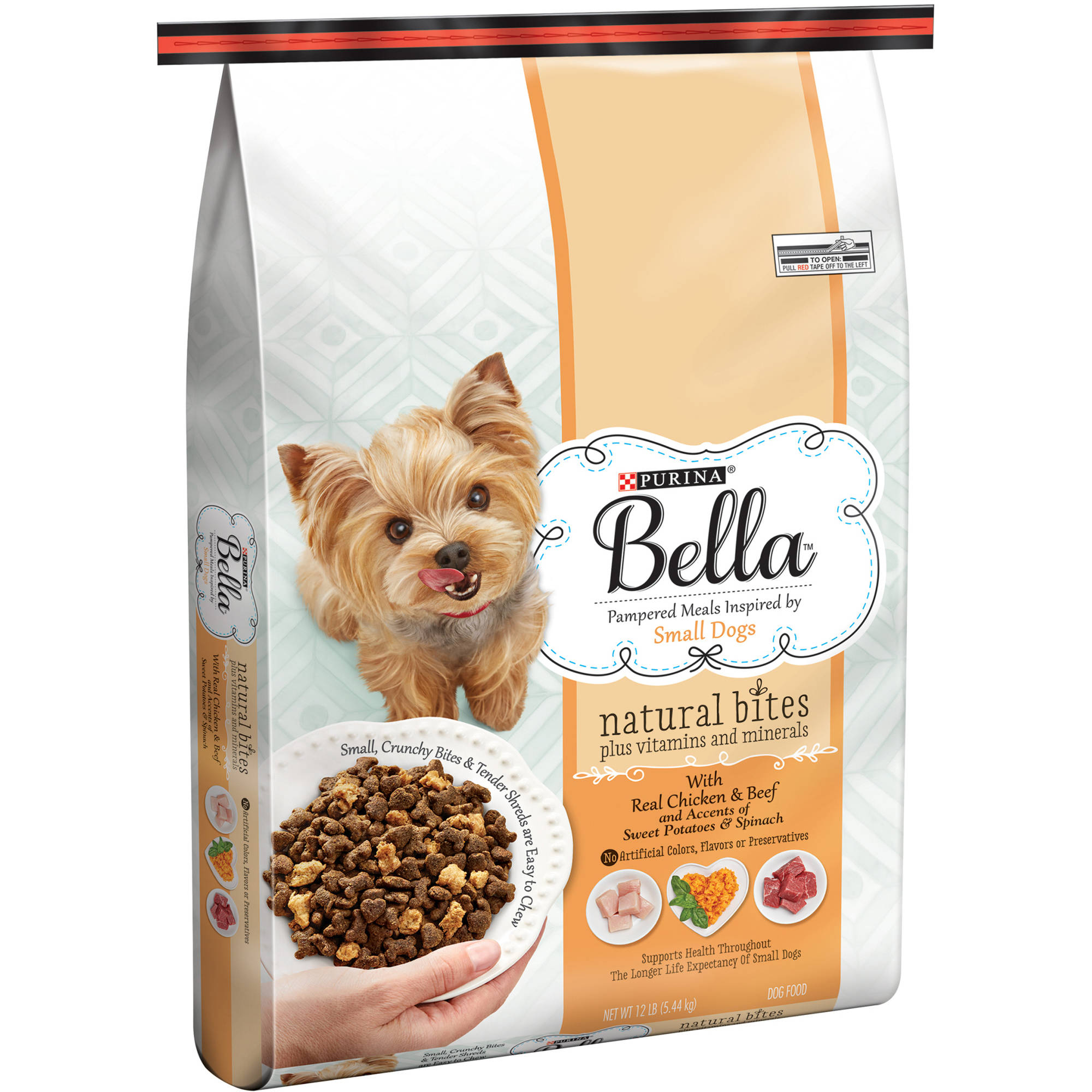 Purina Bella Natural Bites Plus Vitamins and Minerals With Real Chicken & Beef and Accents of Sweet Potatoes & Spinach Adult Dry Dog Food 12 lb. Bag