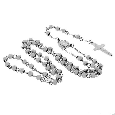 - Stainless Steel Silver-Tone Beads Religious Cross Rosary Necklace Pendant, 6mm
