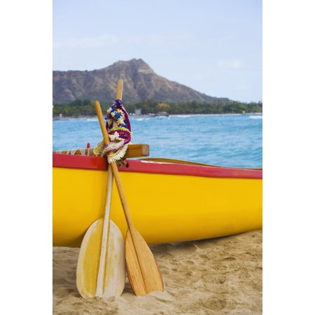 Outrigger Canoe Paddle Wall Decor (USA Hawaii Oahu Honololu funeral for Don Ho Waikiki Canoe paddles and Lei leaning on outrigger canoe Canvas Art - Dana Edmunds  Design Pics (24 x 38))