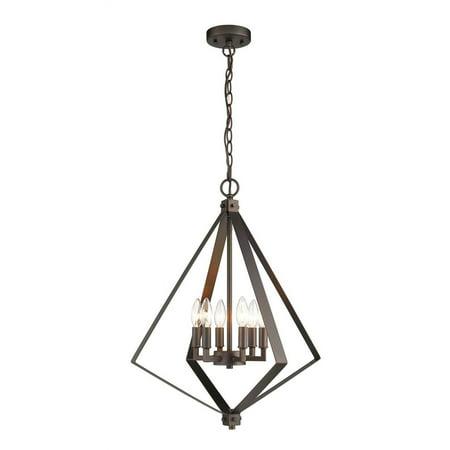 CHLOE Lighting HUDSON Transitional 6 Light Rubbed Bronze Ceiling Pendant 20