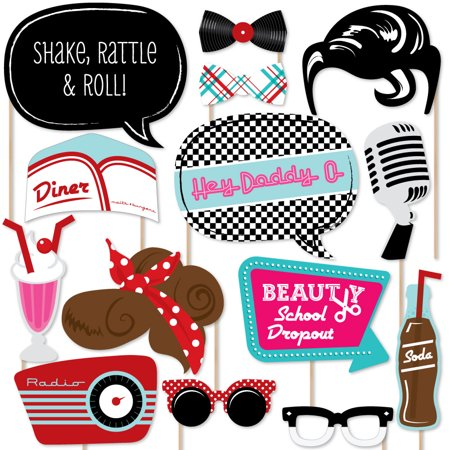 50's Sock Hop - 1950s Rock N Roll Party Photo Booth Props Kit - 20 Count (Rock And Roll Birthday Invitations)