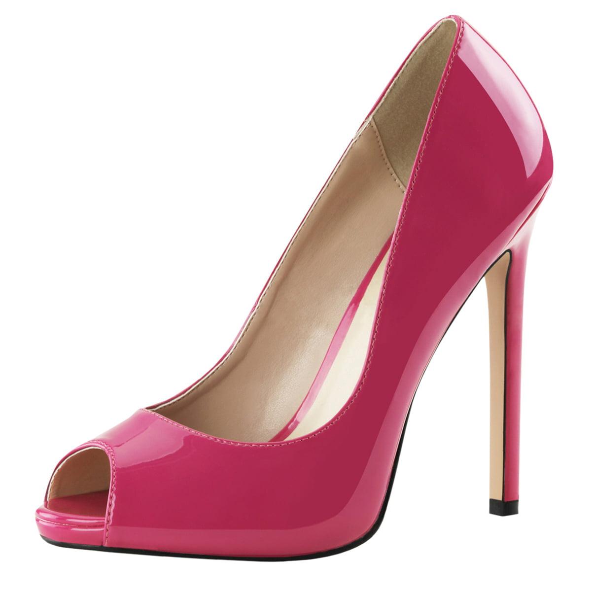 Womens Peep Pink Toe Pumps Patent Hot Pink Peep Shoes Platforms Stilettos 5 Inch Heels<New Road Map<Gentleman/Lady cb1925