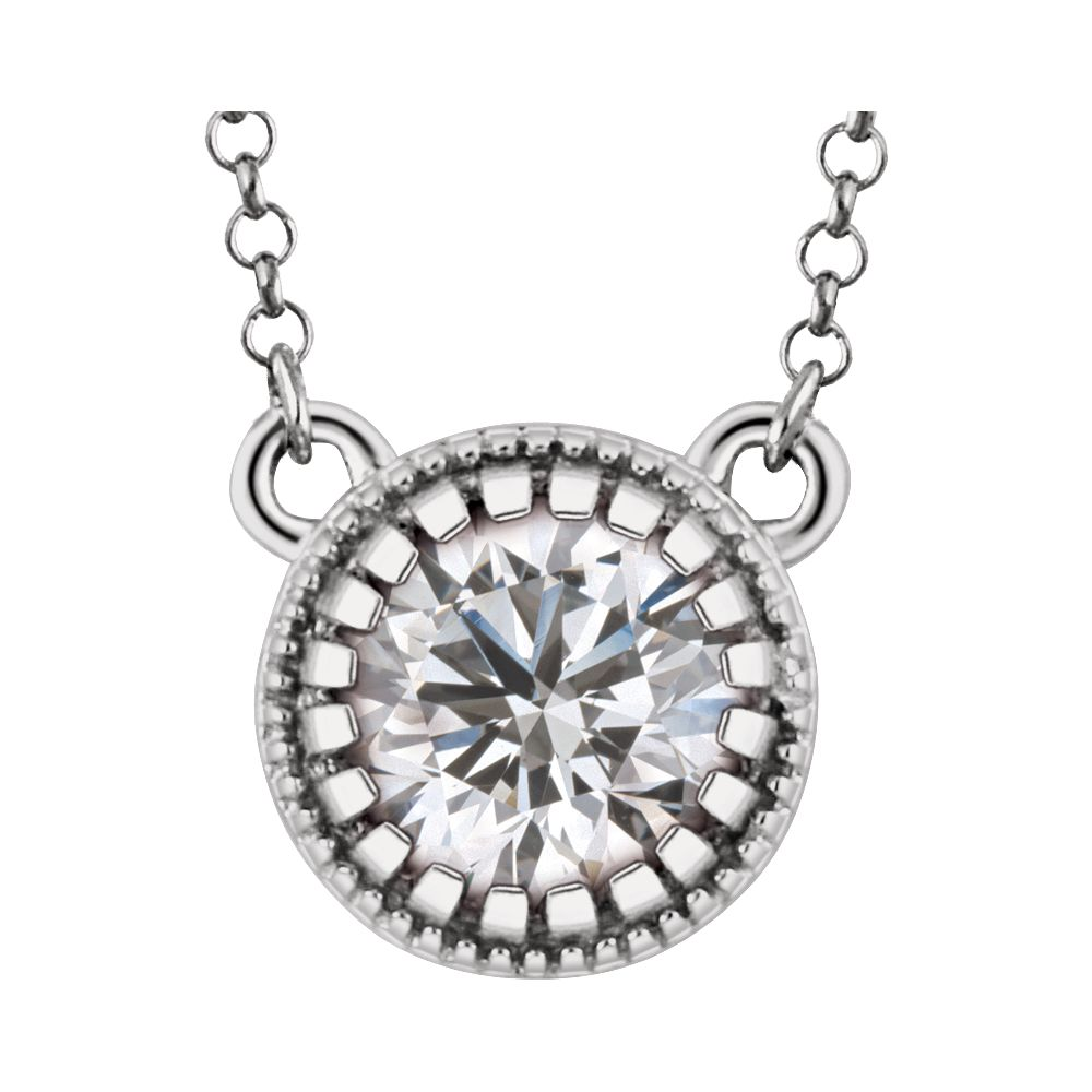 14k White Gold April Polished White Sapphire Necklace by