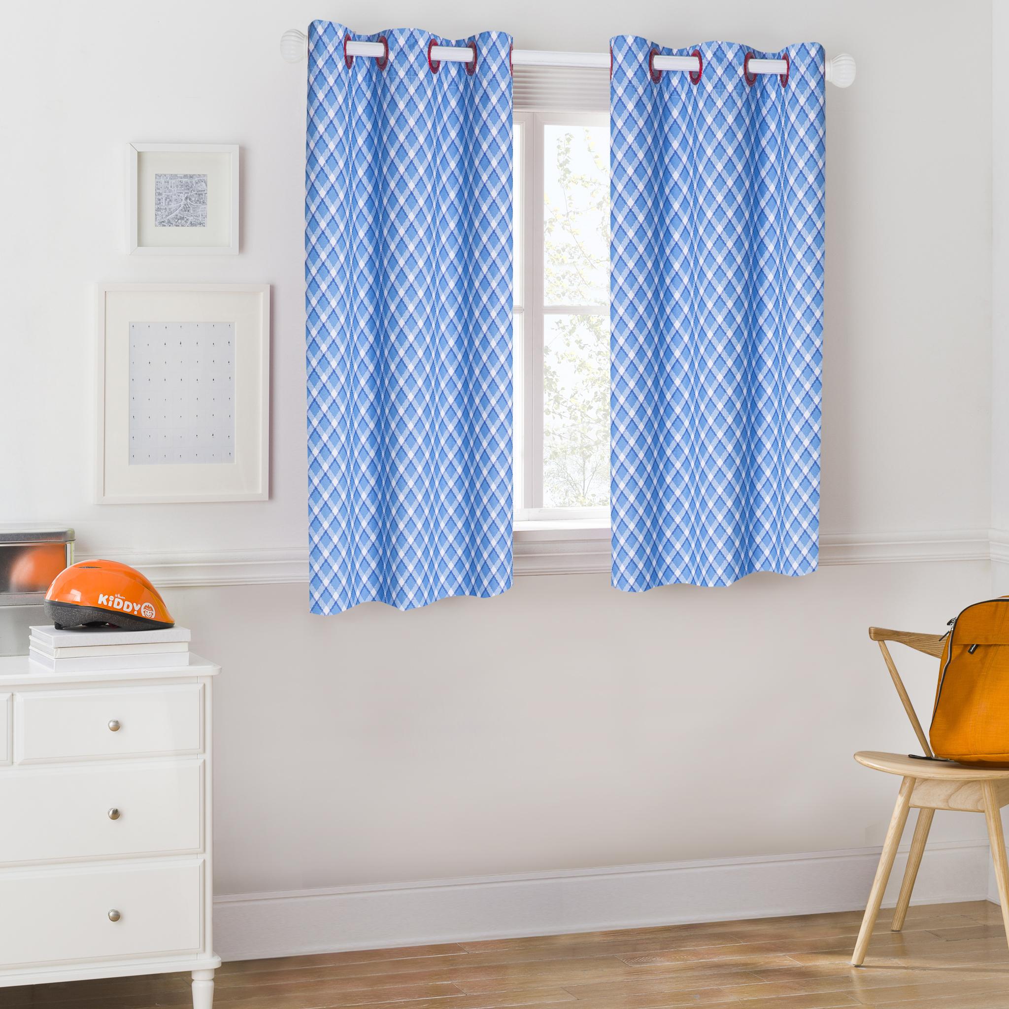 Mainstays Kids Blue Plaid Room Darkening Coordinating Window Curtain
