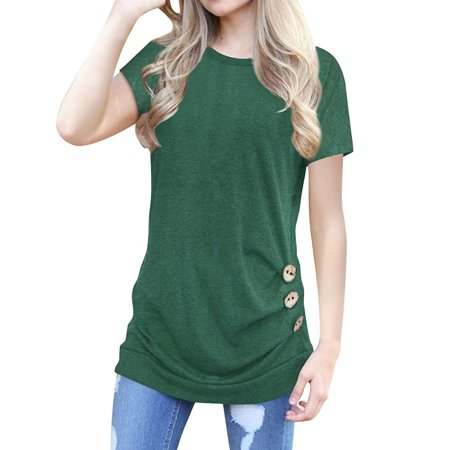 STARVNC Women Short Sleeve Button Decor Solid Color Tops (Woven Solid Color)