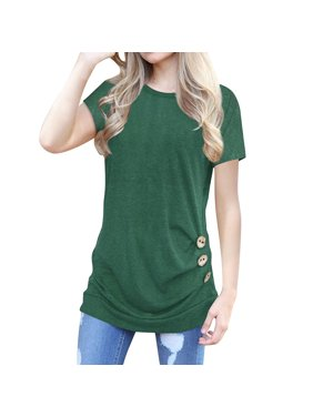 5eea12d3 Product Image STARVNC Women Short Sleeve Button Decor Solid Color Tops