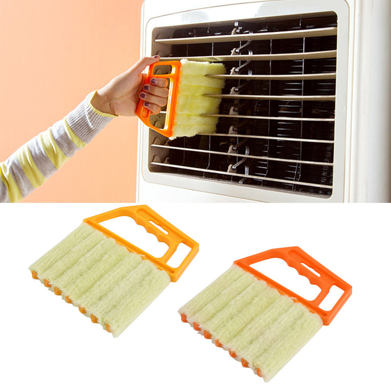 Multifunctional Venetian Blind Brush Window Air Conditioner Dirt Dust Cleaning,yellow