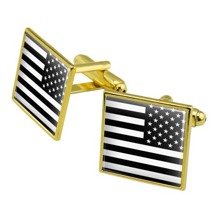 Subdued Reverse American USA Flag Black White Military Tactical Square Cufflink Set Gold (White Gold Genuine Cufflinks)