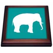 3dRose White elephant silhouette. Teal turquoise aqua blue wildlife animal, Trivet with Ceramic Tile, 8 by 8-inch