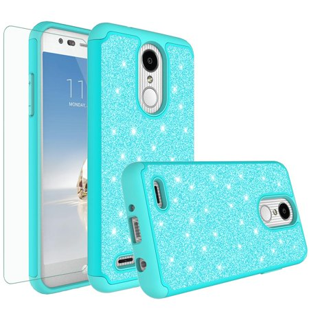 Shock Proof Phone Case for LG Aristo 2 Plus, Aristo 2,Tribute Dynasty, Rebel 3,Zone 4 Case,Cute Glitter Bling Silicone [Screen Protector] Women Girls Dual Layer Protective Cover -