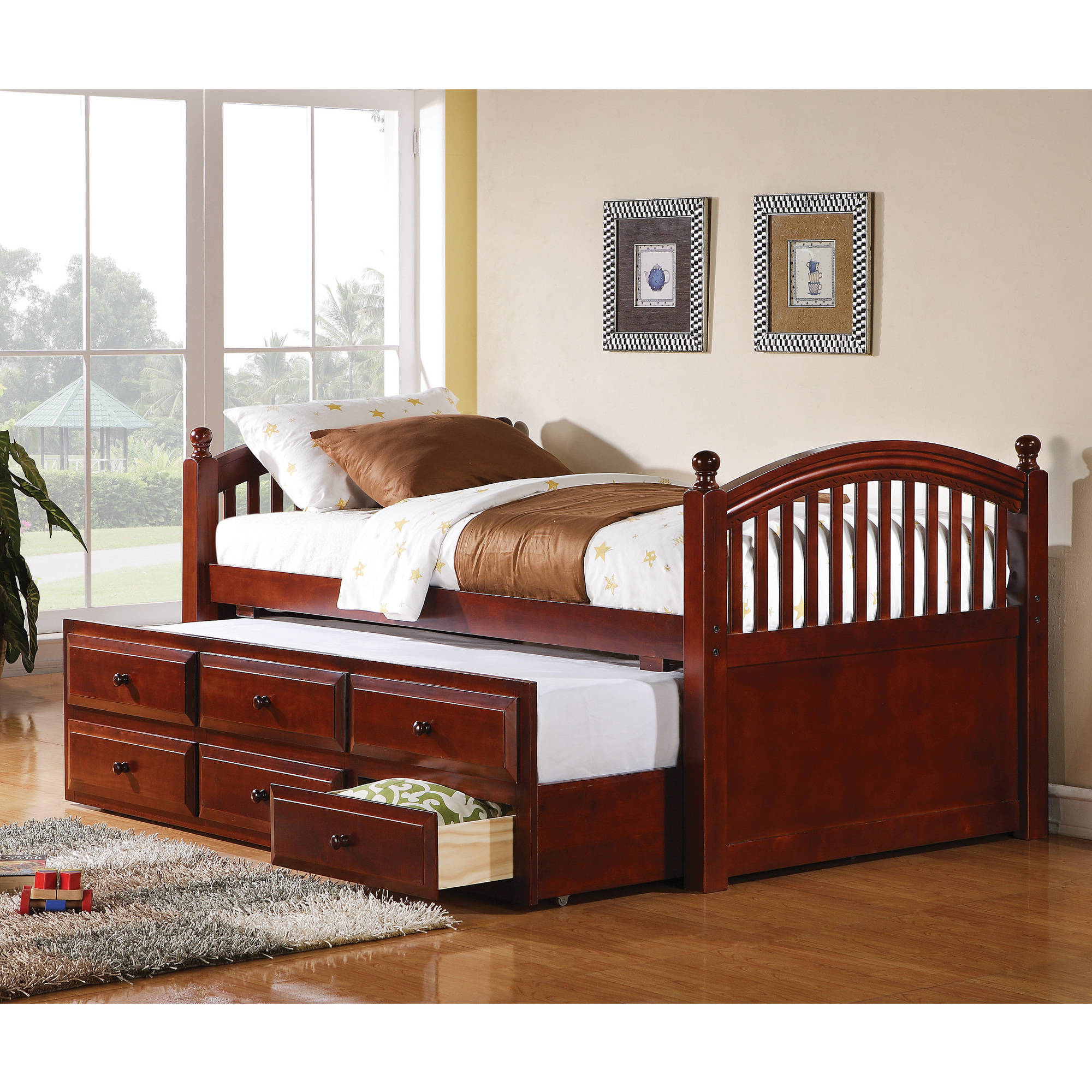 Coaster Twin Day Bed with trundle in Chestnut Finish (Box 1 of 3) by Coaster Company