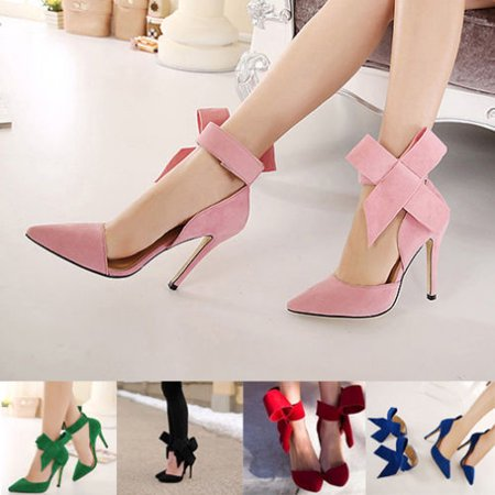 Women Pointed Toe Slim High Heels Stilettos Bowknot Pumps Evening Party Shoes