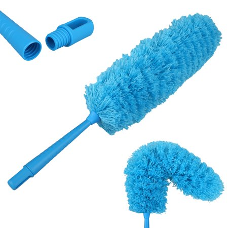 Microfiber Feather Duster with Telescoping Extension Hole/Hypoallergenic Dust Cleaner/Bendable Flexible Cleaning Head/Extendable Tool for Ceiling Fan,Gap Dust,Blinds and Cobweb-Wet or Dry Use