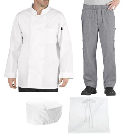 Chef Code Student Chef Bundle Pack Includes Chef Coat, Pants, Hat & Apron (Cheif Hat)