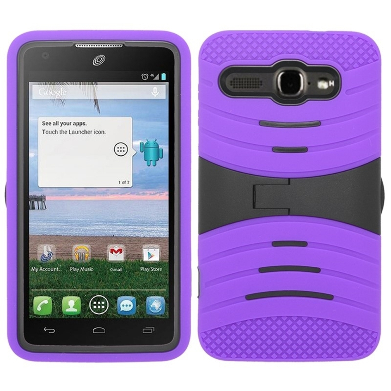 Insten Wave Symbiosis Rubber Hybrid Hard Shockproof Cover Case with Stand For Alcatel One Touch Snap LTE - Purple/Black