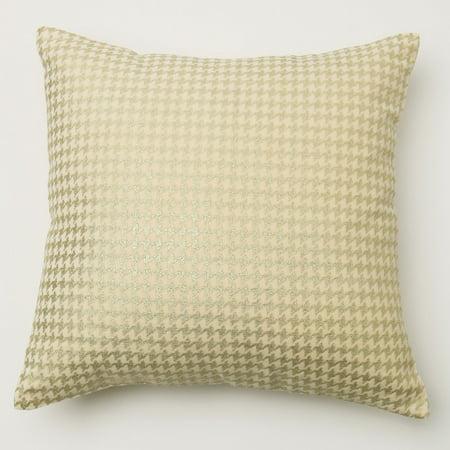Best Home Fashion Small Metallic Houndstooth Velvet Pillow