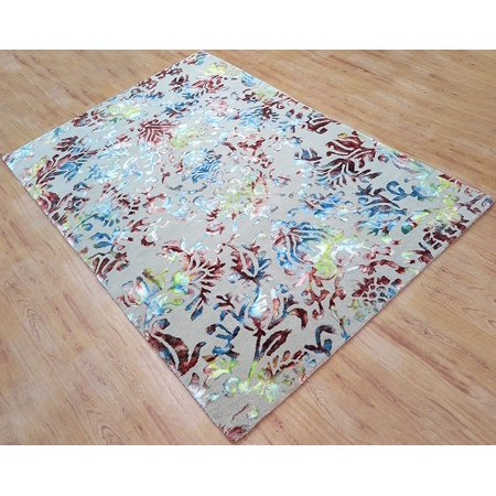 Wool viscose area rug 6x9 ft hand tufted beige base with for Living room rugs 6x9