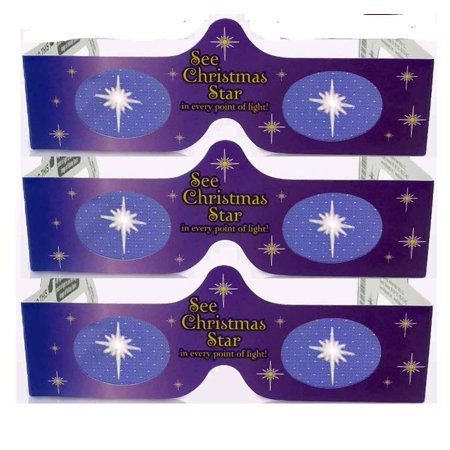 3D Christmas Glasses - Holiday Specs - Transform Christmas Lights Into Magical Images - Christmas Star - 3 Pairs by, 3 PAIRS - A SURPRISE FOR THE.., By 3Dstereo Holiday Eyes Glasses