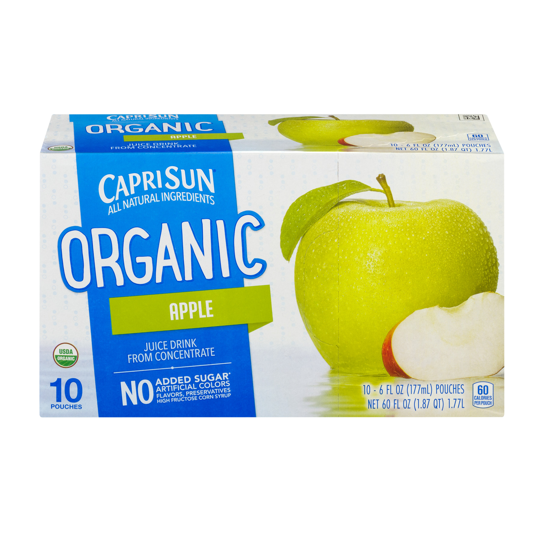 Capri Sun Organic Juice Pouches, Apple, 6 Fl Oz, 10 Count