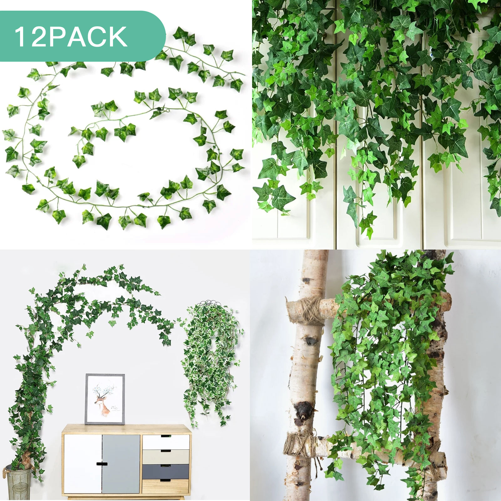 Tsv 12 Strands Artificial Ivy Leaf Plants Vine Hanging Garland Fake Leaves Green Chain Wall Home Room Garden Wedding Garland Outside Decoration 86 4 Ft Parthenocissus Tricuspidata Walmart Com Walmart Com