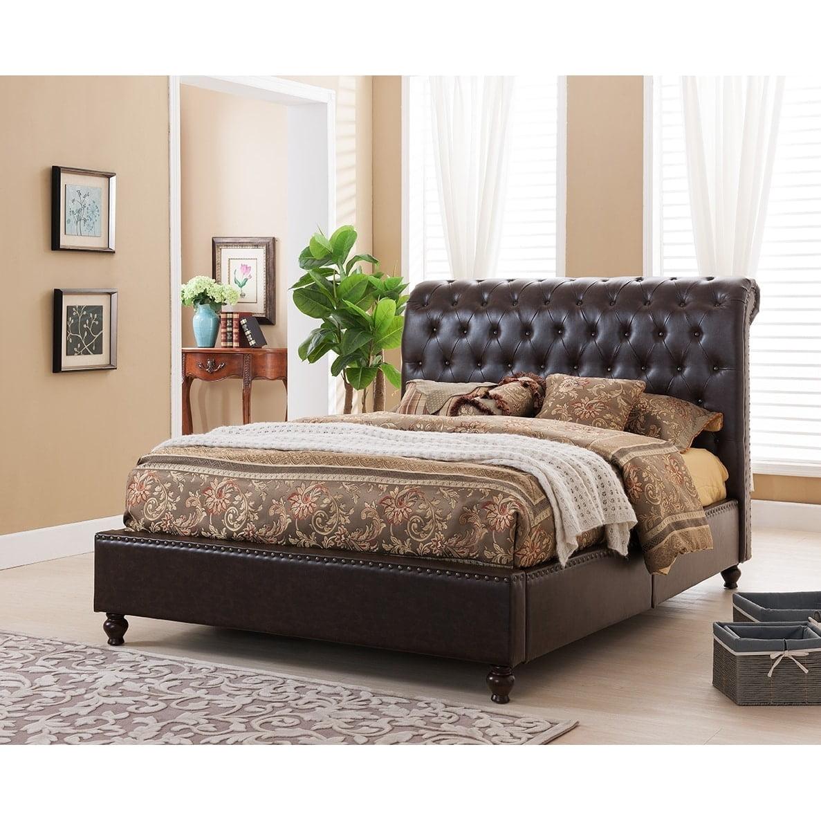 United Furniture Express Norman Tufted Modern Platform Bed with Upholstered Headboard
