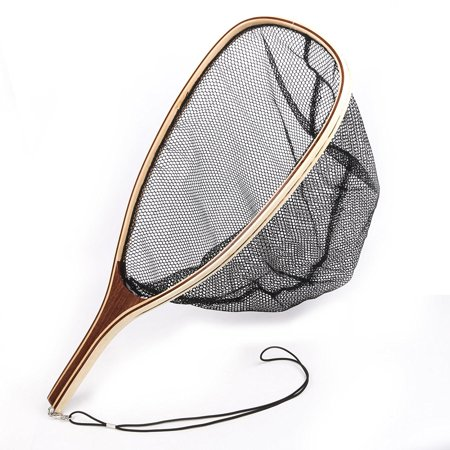 Fly Fishing Landing Soft Rubber Mesh Trout Catch and Release Net with Wooden Handle Color:Black net