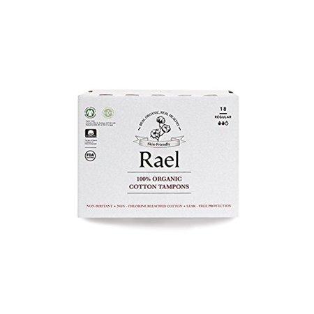 - Rael Applicator Free 100% Organic Cotton Tampons Regular, 18 Count