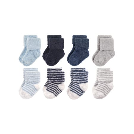 Roll Cuff Fuzzy Crew Socks, 8-Pack (Baby Boys) - Toddler Funny