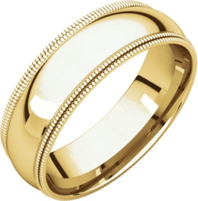 Roy Rose Jewelry 18kt Yellow Gold 7mm Double Milgrain Comfort Fit Wedding Band Ring Size 12