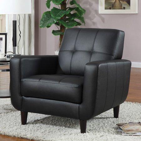 Coaster Leatherette Accent Chair Black Walmart Com