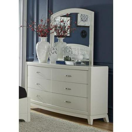liberty avalon iiwhite truffle 6 drawer dresser and mirror set. Black Bedroom Furniture Sets. Home Design Ideas