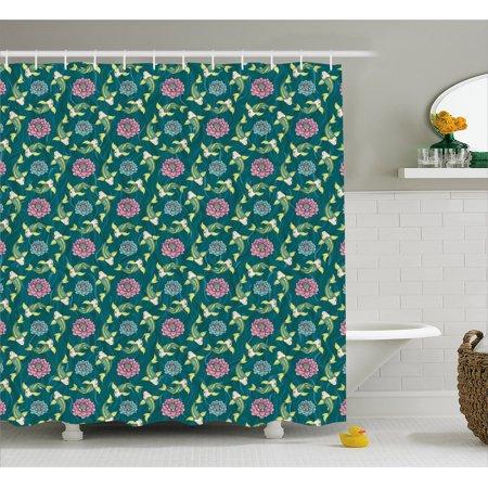 Fish Shower Curtain Asian Traditional Carp Koi Lily Pattern Japanese Motifs Marine Fabric