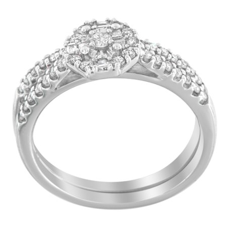 10k White Gold 0.40ct TDW Round and Baguette Diamond Engagement/ Wedding Ring Set (H-I, (Round Brilliant With Tapered Baguettes Engagement Ring)