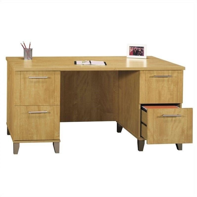 Bush Somerset Collection 60 Wood Desk in Maple Cross Walmartcom