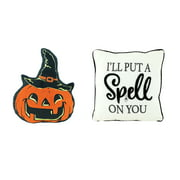 Way to Celebrate Harvest Spell on You and Jack O' Lantern Witch Decorative Pillows, Set of 2