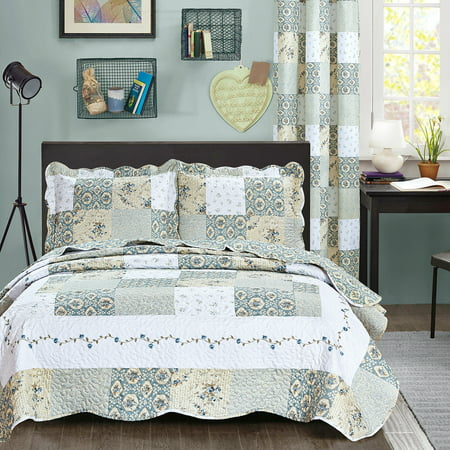 All American Collection New Reversible 3pc Floral Printed Patchwork Blue/Green Bedspread/Quilt Set