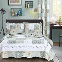 cf2758c20f1 Product Image All American Collection New Reversible 3pc Floral Printed  Patchwork Blue Green Bedspread Quilt Set