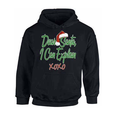 Awkward Styles Dear Santa I Can Explain XOXO Christmas Sweatshirt Christmas Hoodie Santa Hat Ugly Christmas Sweater Christmas Sweatshirt for Men for Women Santa XOXO Christmas Hooded Sweatshirt