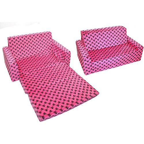 Full-Size Minky Flip Sofa, Hot Pink Skull