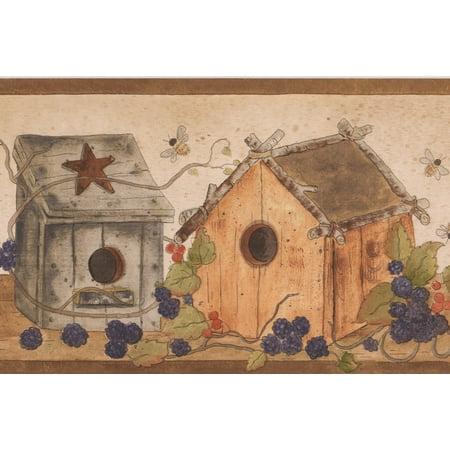 Birdhouse Blue Red Berries Bees on Table Vintage Wallpaper Border Retro Design, Roll 15' x 7'' - image 3 de 3