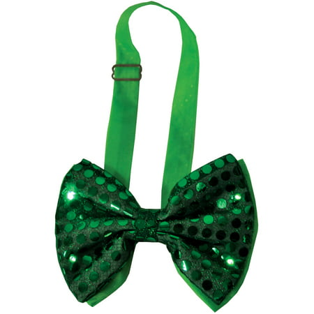 Green Sequin Light Up Bow Tie Adult Halloween Accessory - Halloween Cheer Bows