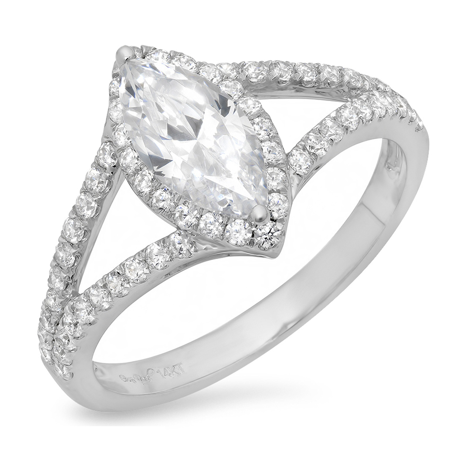 1.20CT Marquise Cut Simulated Diamond CZ Pave Halo Weddin...