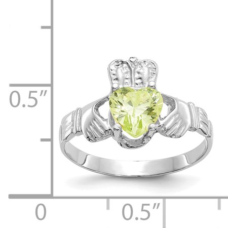 14K White Gold August Birthstone Claddagh Ring - image 1 of 2