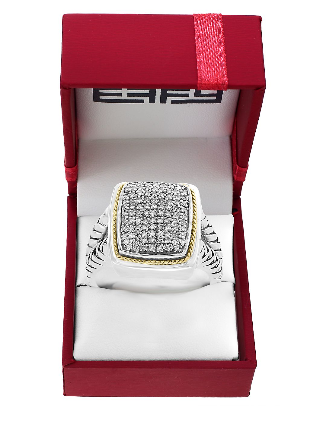 Effy 925 Sterling Silver, Diamond & 14K Yellow Gold Ring