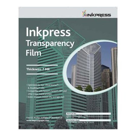 - Transparency, Resin Based Inkjet Film, 7mil., 8.5x11